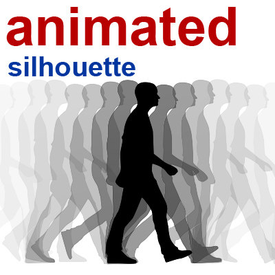 3d silhouette walking man model