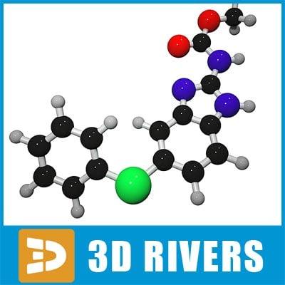 3d model fenbendazole molecule structure