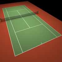 3d model red tennis hard court