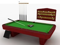 3d pool set billiards table model