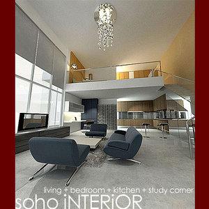 3d model double soho interior