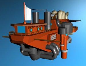 flyff steampunk inspired ship 3ds