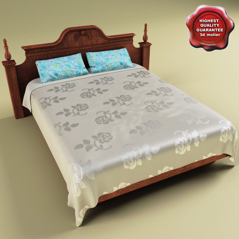 bed satiny coverlet 3d model
