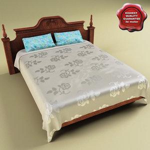 bed satiny coverlet 3d model