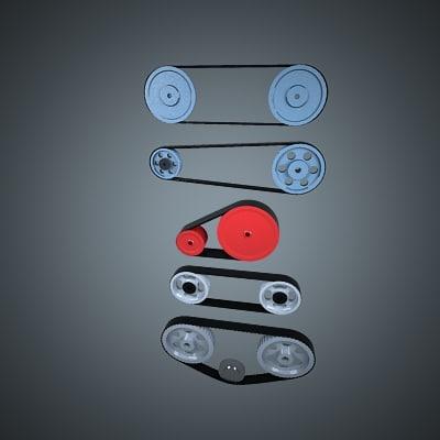 3d model pulley belt