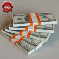 3d model dollar banknotes