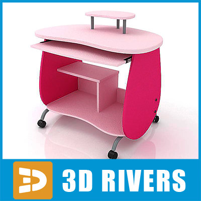 kid computer desk 3d model