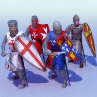 Knights_x4_Set-01_Rigged_3DSMax