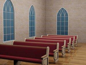 96 church pew 3d dxf