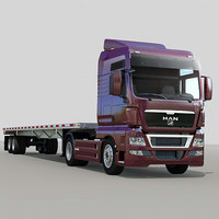 3d model man tgx flatbed trailer