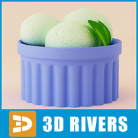 3d model green tea ice cream