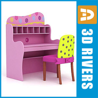 kid computer desk chair furniture 3d 3ds