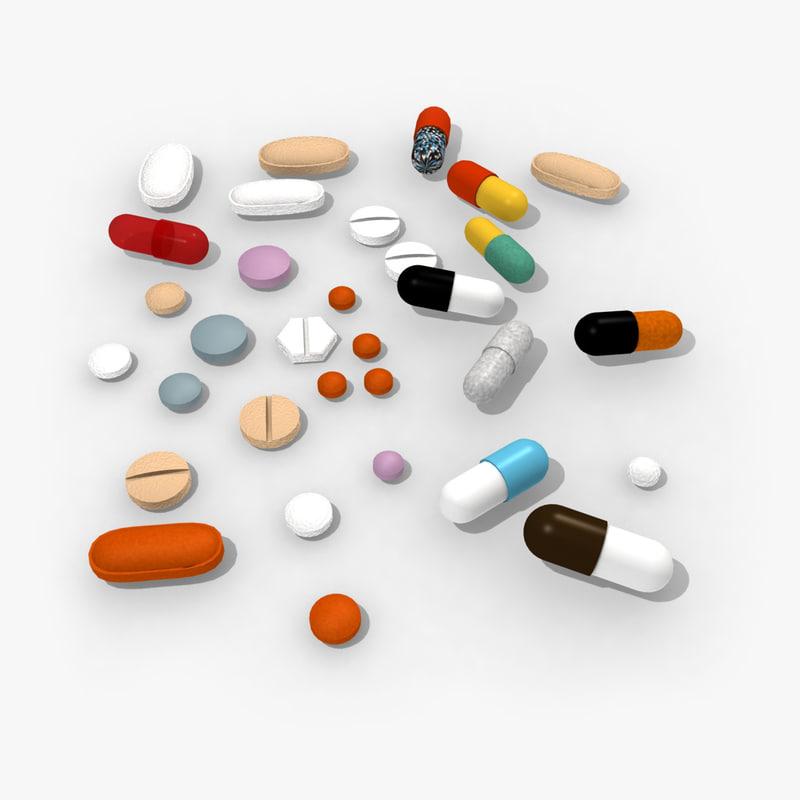 3d model of pills capsules