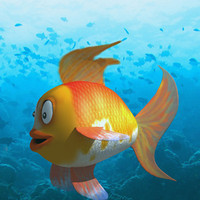 gold fish character 3d 3ds