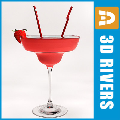 strawberry daiquiri cocktail 3d model
