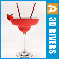 strawberry daiquiri cocktail 3d model