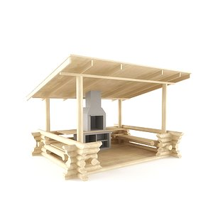 3d summerhouse barbecue model