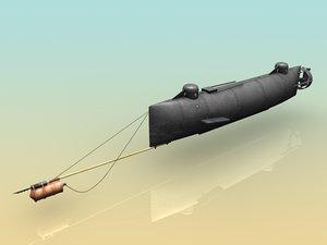 3d h l hunley submarine