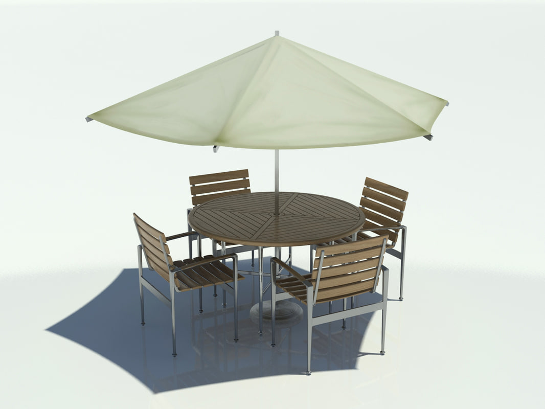 Outdoor table chair umbrella 3d max for Outdoor patio table and chairs