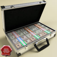 3d model of suitcase dollars