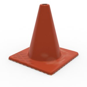 3d caution cone model