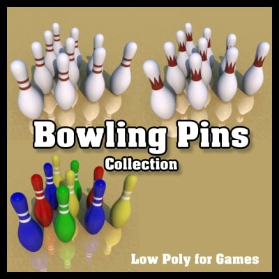 3d bowling pins model