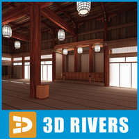 interior japanese temple 04 3d model