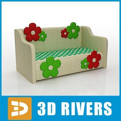 kid sofa furniture 3d model