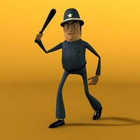 3d model cartoon police character