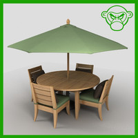 round table with chairs and umbrella