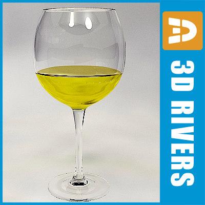 3d glass white wine model
