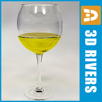 3d glass white wine model