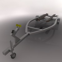 boat trailer remolque 3d c4d