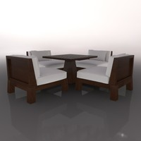 3d model table chairs patio