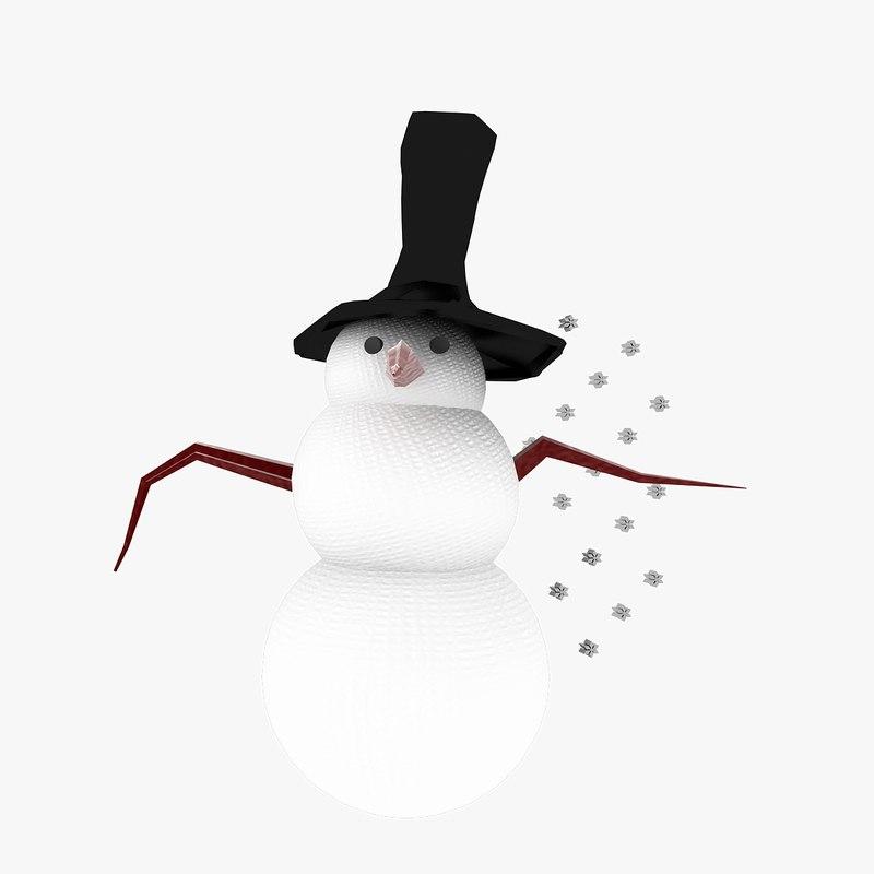 3d model snow man scene