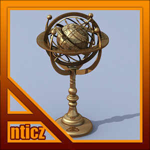 3ds max antique bronze armillary earth sphere