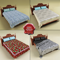 beds set modelled 3d model