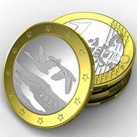 3d coin 1 euro finland