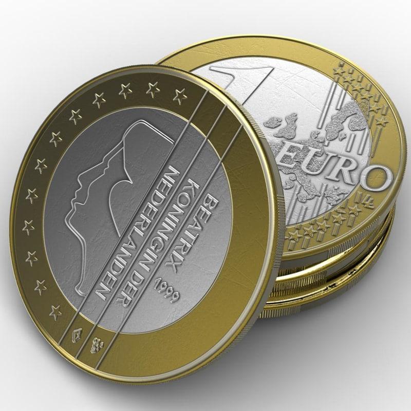 3d coin 1 euro holland model