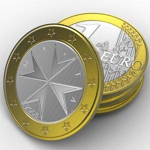 3ds max coin 1 euro malta