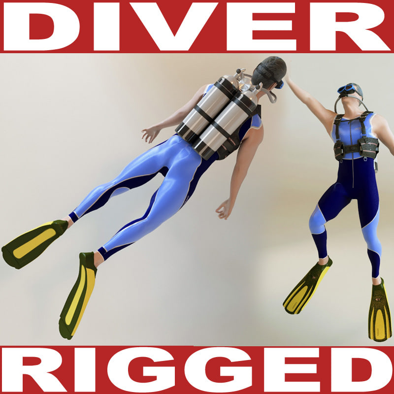 3ds max diver rigged biped