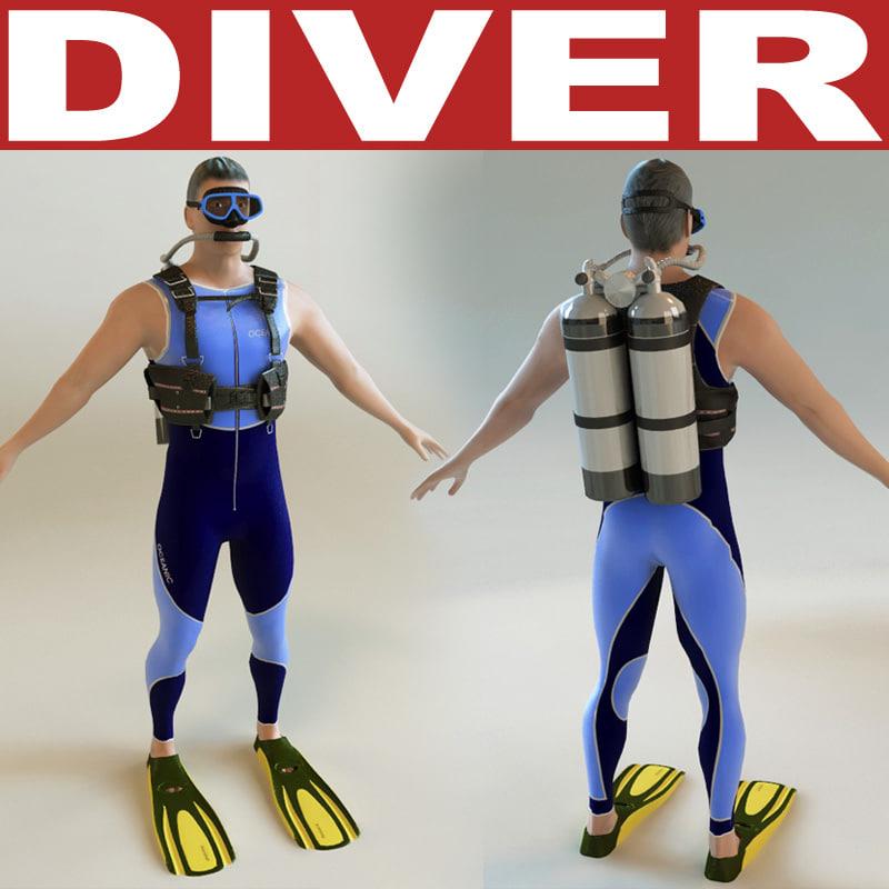 3d model of diver games modelled