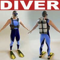 3d model of diver games modelled