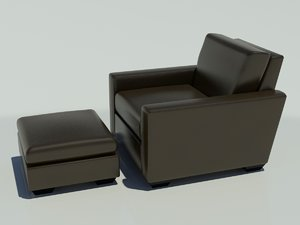 leather lounge chair ottoman 3d max