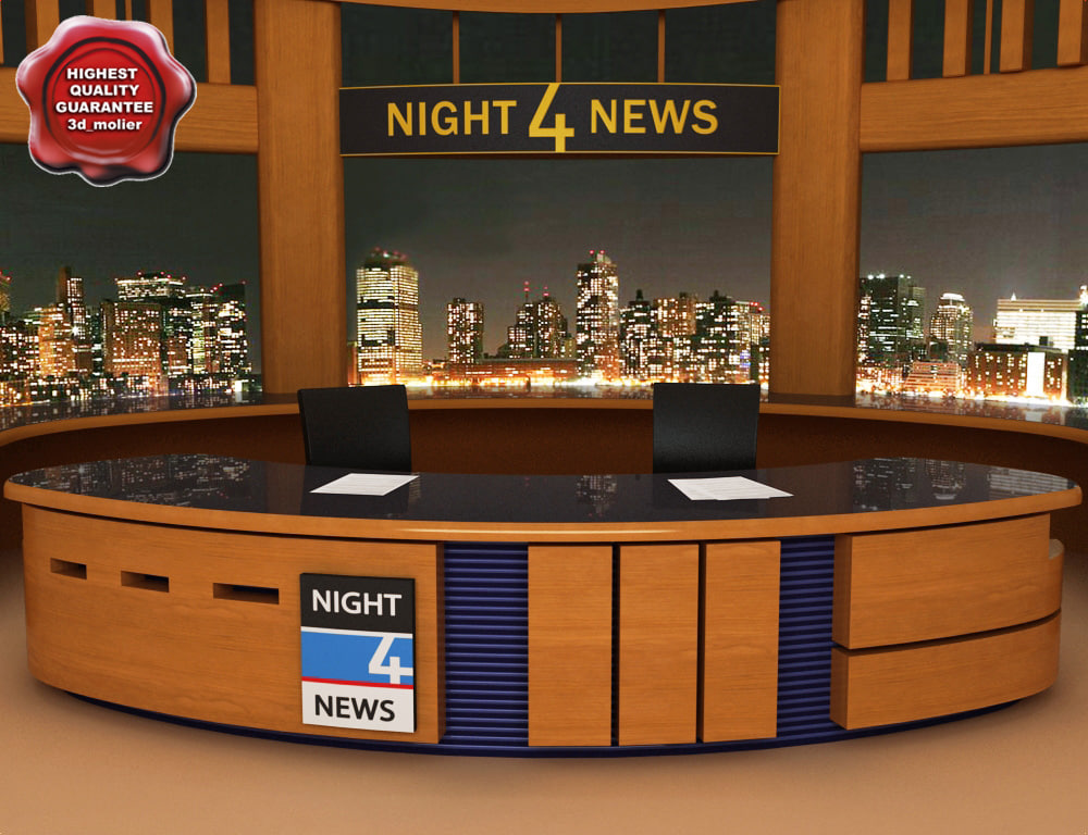 news tv studio 3d model. Black Bedroom Furniture Sets. Home Design Ideas