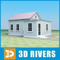 3d model small town house building