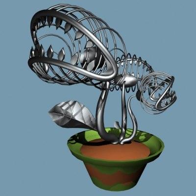 metal sculpture venus flytrap 3d 3ds
