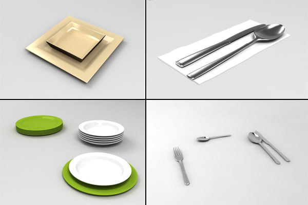 pack tableware 07vray max