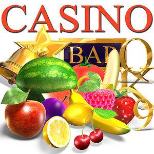 casino symbols set games 3d max