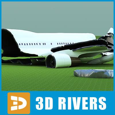 3d crashed b747 plane model